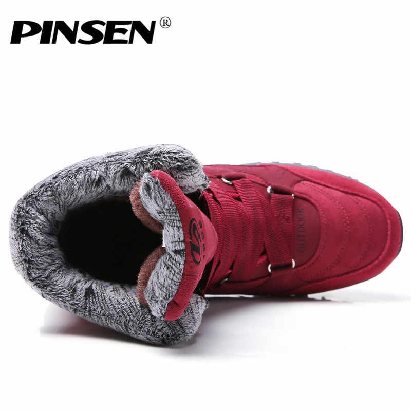 Bộ Sạc Pinsen 2020 Mới Giày Bốt Nữ Da Cao Cấp Da Lộn Mùa Đông Giày Giữ Ấm Buộc Dây Chống Nước Ủng botas Mujer