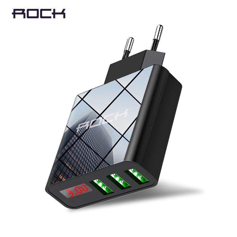 ROCK 3A pantalla LED de la UE 3 USB cargador Universal del teléfono móvil cargador USB de carga rápida cargador de pared para iPhone Samsung xiaomi