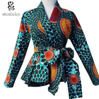 Fashion African Printed Blouse With Belt Female Autumn Casual Tops African Ankara Batik Clothes Top Quanlity