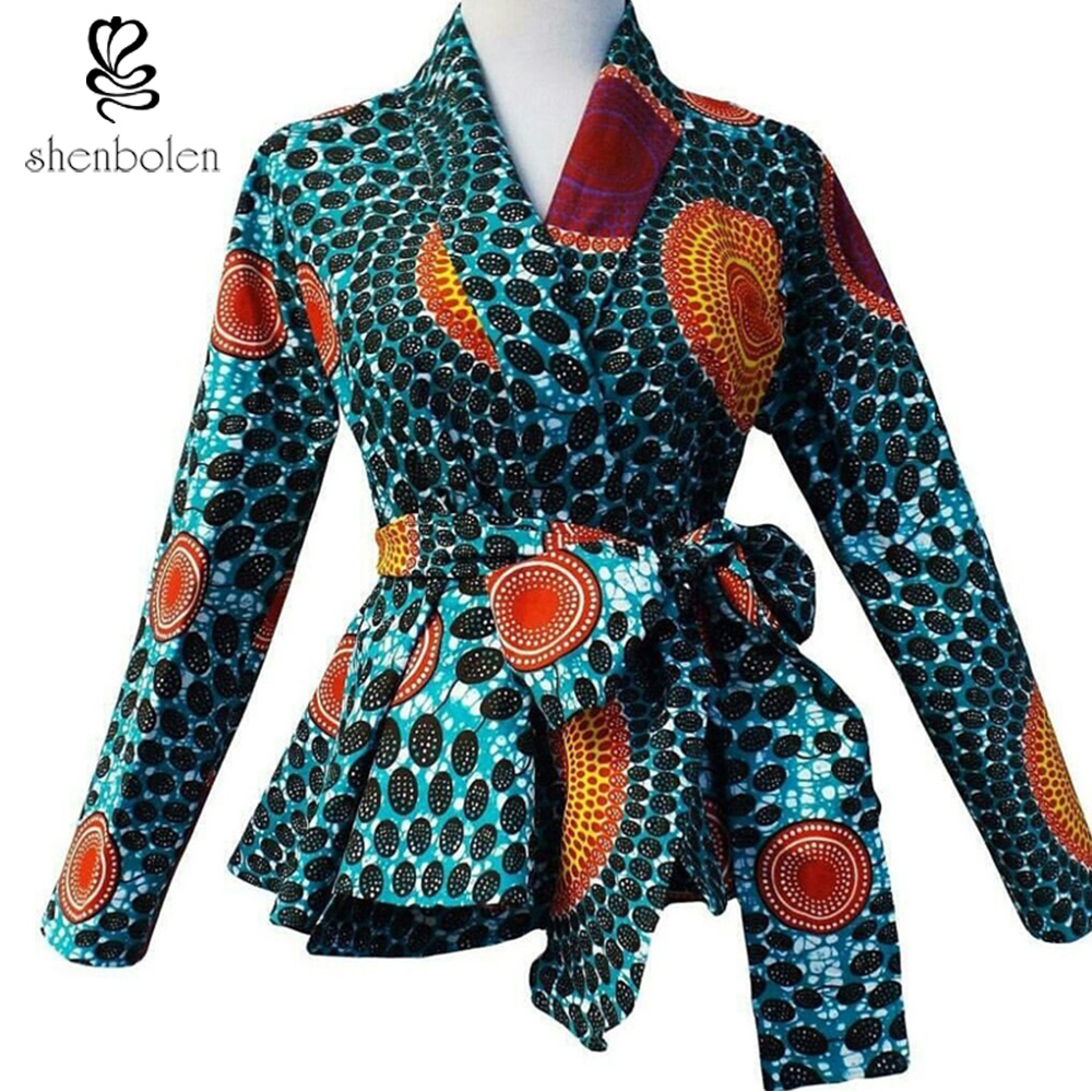 پیراهن چاپ شده آفریقایی مد با کمربند - لباس ملی