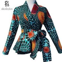 Mode afrikansk tryckt blus med bälte kvinnliga höst casual toppar afrikanska ankara batik kläder topp quanlity