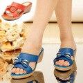 ZIMINAFR BARND 2017 verano mujer sandalias de cuero genuino cuñas impermeables dulce fondo grueso casual más tamaño zapatillas femeninas
