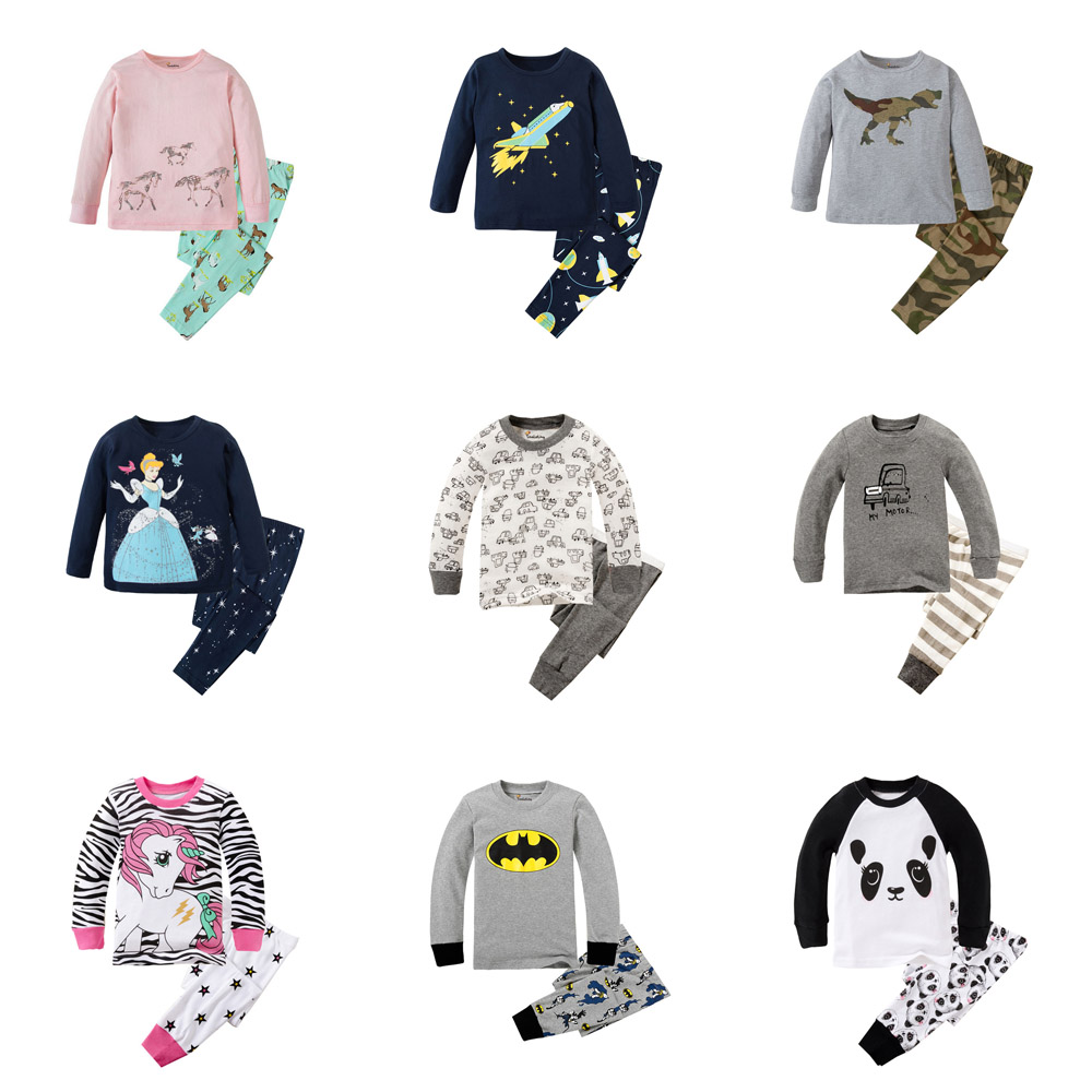 Little Bitty 2019 Brand New Pyjamas Baby Boys Sleepwear Kids 100% Cotton Long Sleeve Fashion Cartoon Panda Pajamas For Girls(China)