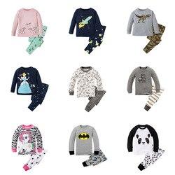 Nova marca pijamas do bebê meninos pijamas crianças 100% algodão manga longa moda dos desenhos animados panda pijamas para meninas unicórnio