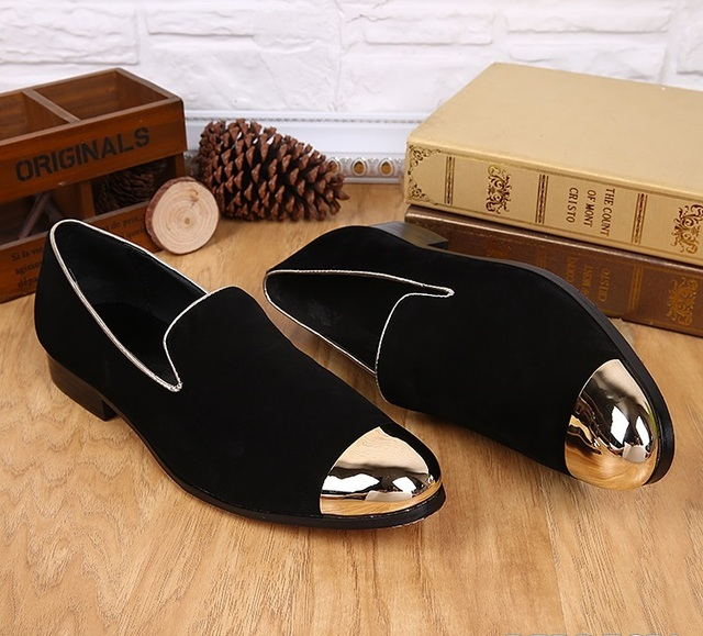 2017 Newest Fashion Loafers Flats Casual Shoes Men Gold Black Weeding Dress Metallic High Quality Shoes Size 6-12 Free Shipping
