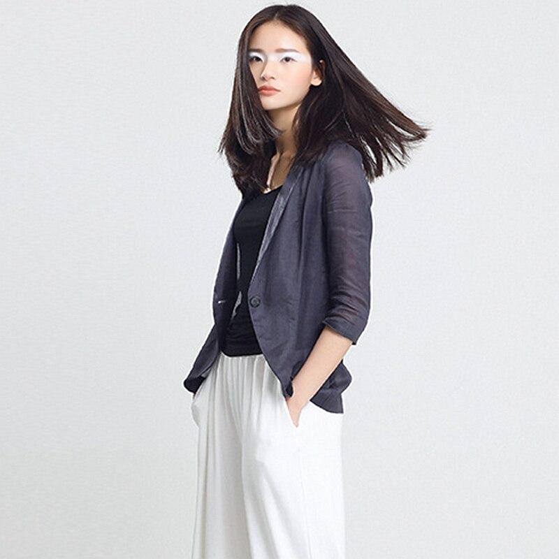 Simple Manches Ramie Qualité Costume Blazers Nouveau Casual Mode Femmes 100 quarts Mujer Haute Trois Bouton 2017 Printemps Eté nB8X4xInp