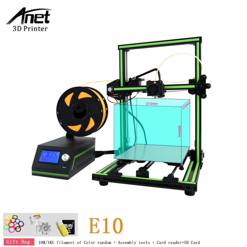 New Anet E10 Semi Assemble Impresora 3D Printer DIY Kit Full Aluminum Imprimante 3D Large Size Reprap i3 With 10m/1KG Filament anet a9 3d printer easy assemble with metal plate aluminum frame high precision imprimante 3d diy kit with pla abs filament