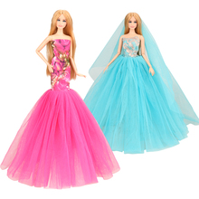 2019 newest fashion hot sale handmade party evening dresses 2 Items/set doll accessories outfit for barbie dressing up