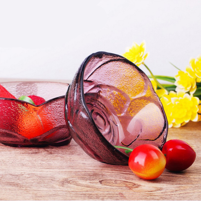 1pcs color rose glass bowl kitchen bowl fruit salad bowl simple and exquisite tableware kitchen supplies