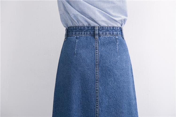 Slits a word denim skirt female 2016 new winter high waist a word length denim skirt 15