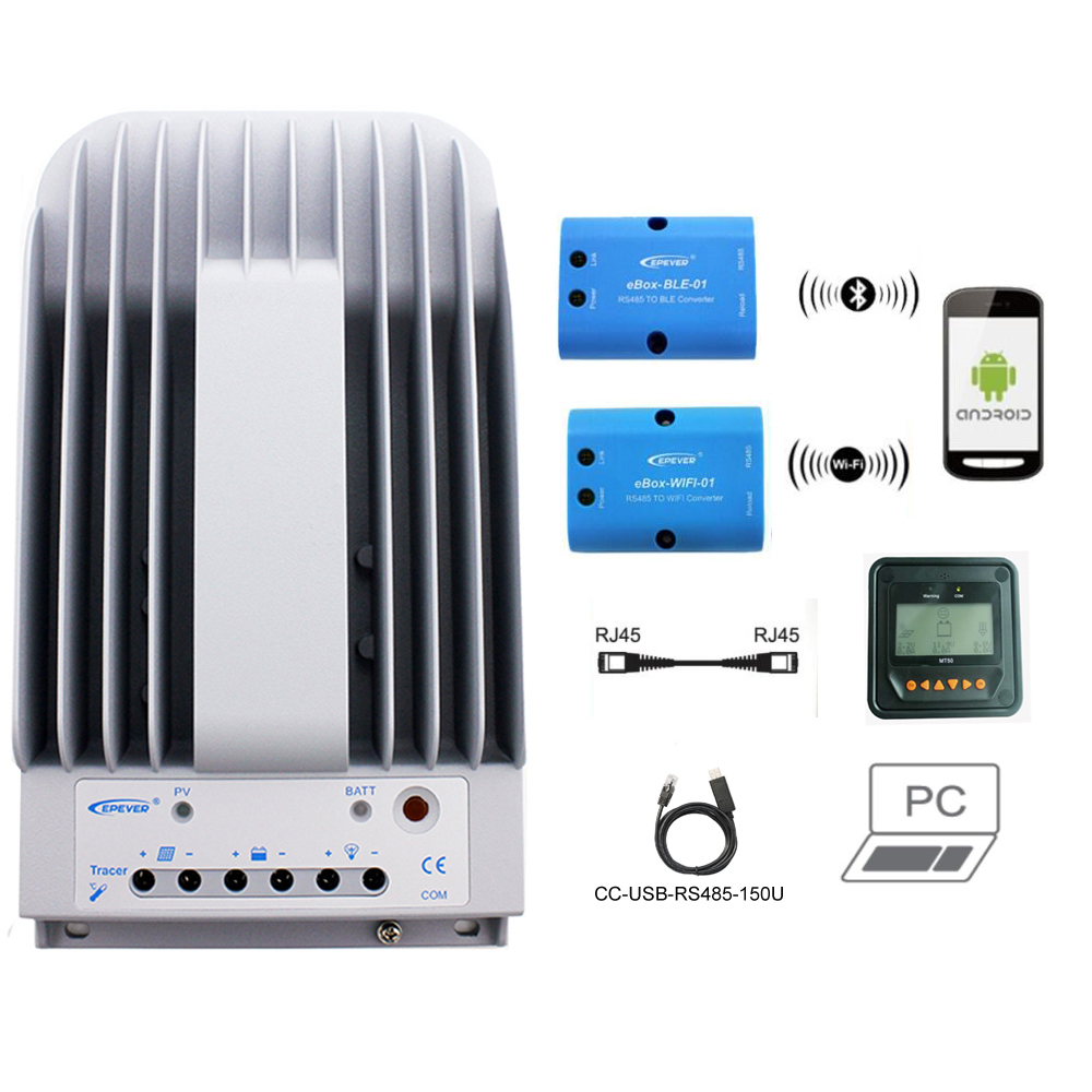 MPPT Controlador de Carga Solar Tracer 2215BN 20A 12 v 24 v LCD Regulador EPEVER MT50 WIFI Bluetooth PC de Comunicação Móvel APP