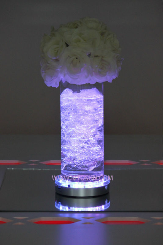 20pcs 6inch rechargeable glass crystal vase light wedding party table decoration birthday event party decorative led light base
