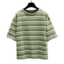 2019 New arrival Women T-shirts Summer Harajuku Casual stripe Tops Tee Short sleeve Pure Cotton T shirt For Clothing
