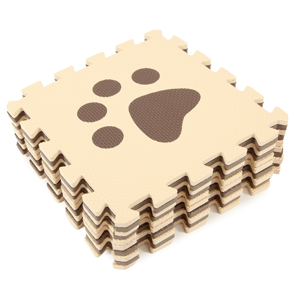 10pcs/set Eco-friendly Eva Safe Foam Puzzle Mat Baby Floor Carpets Childrens Cartoon Play Mats 30 x 30 x1cm Beige coffee color ...