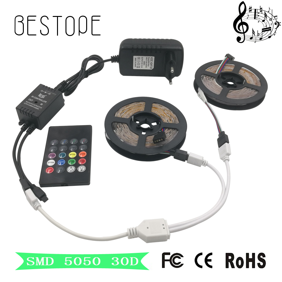 цена на SMD RGB LED Strip Light 5050 4M 8M LED Light rgb Leds tape diode led ribbon Flexible mini music IR Controller dc 12V Adapter set