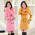 fashion high quality women Winter New Women Woolen Coat Female Elegant Solid color Coat Medium long Slim  Fur collar Woolen Coat