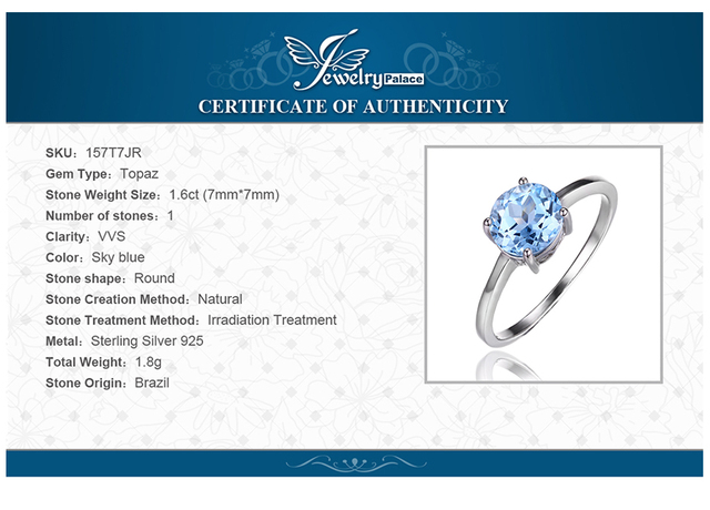 Women 925 Sterling Silver 1.6CT Natural Sky Blue Topaz Birthstone Solitaire Ring