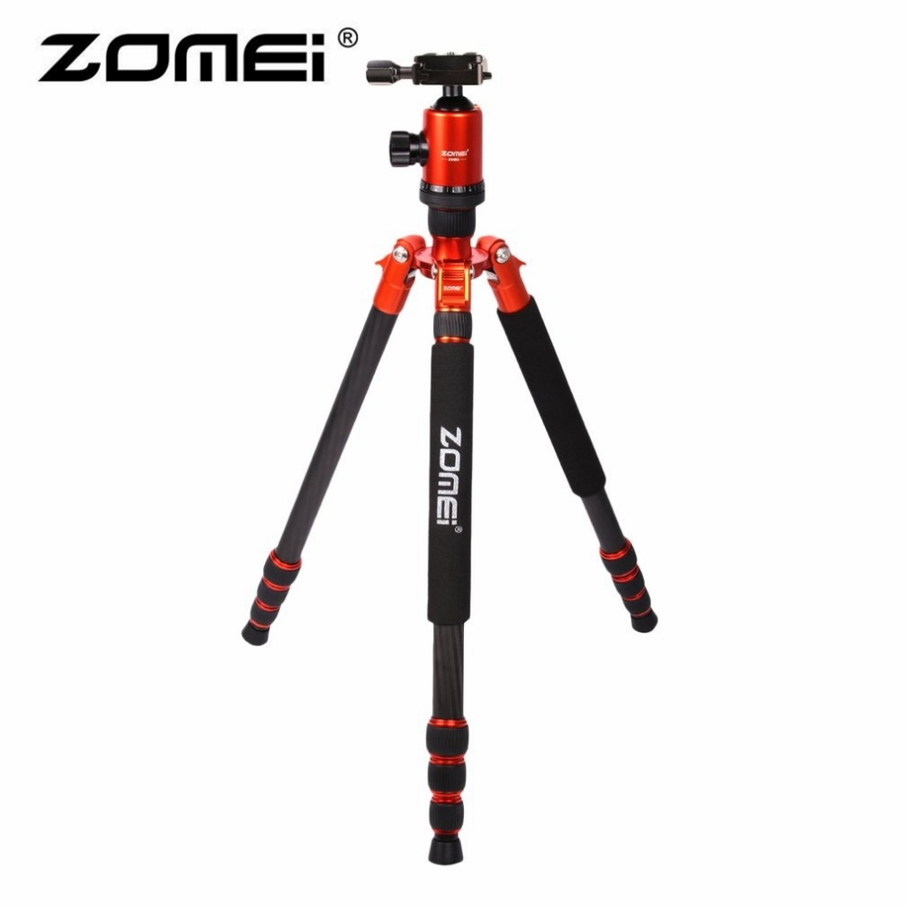 Zomei Z888C Carbon Fiber Travel Tripod Ball Head Carrying Bag Quick-Release Plate Monopod for DSLR SLR Camera 5 Colors load 15kg manbily cz 302 5 sections carbon fiber walking stick video monopod tripod with kf 0 ball head for dslr camera