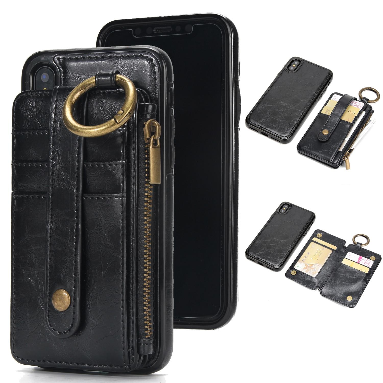 Étui en cuir À Rabat Support de Carte Amovible À Double Usage pour Iphone X 8 7 6 6 s Plus 5 5S SE Samsung S8 S7 S6 Motif Litchi