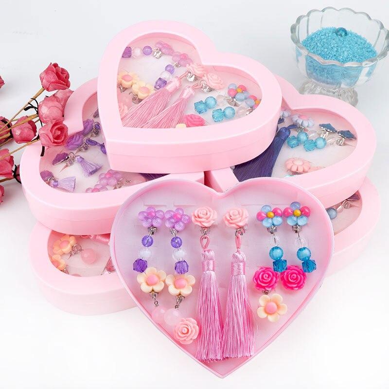 Lovely Cartoon crystal children jewelry baby girl Earrings, no earrings pendants ear clips false earrings girls ring gifts. ...