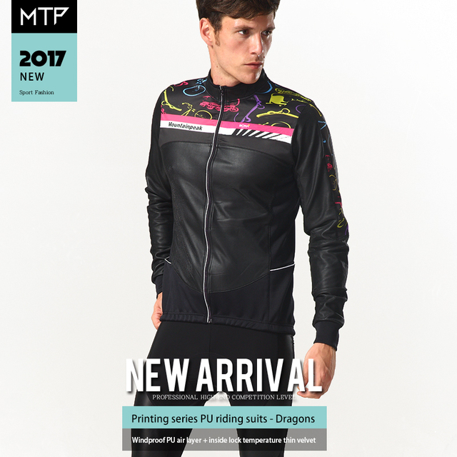 2f65520d8 Mountainpeak Riding Suit Long Sleeve Bicycle Clothing Windproof Warm Cycling  Sets PU Leather Fine Printing Windproof