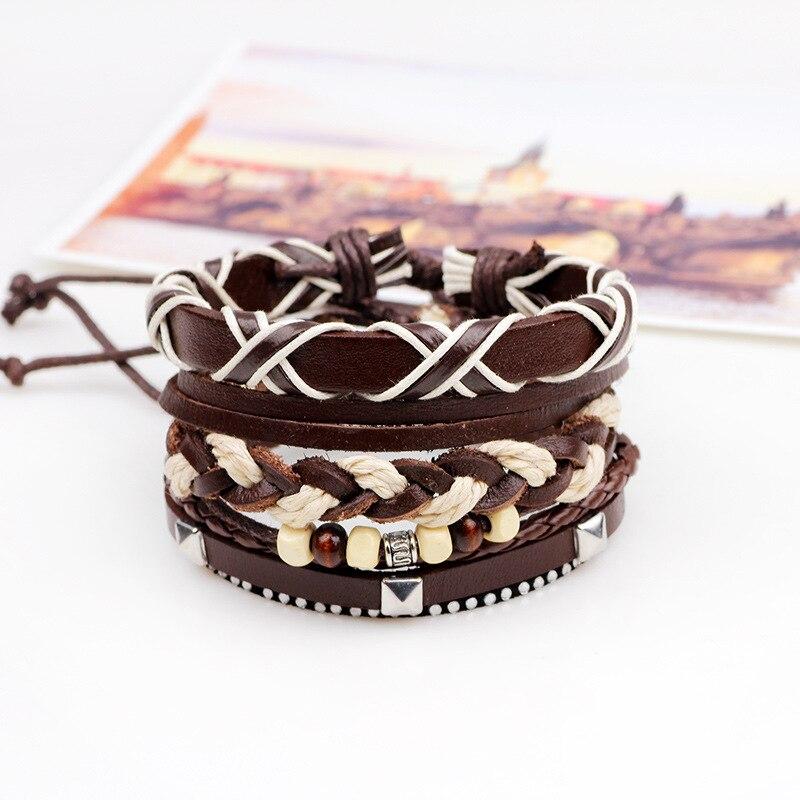 4pcs/set Multicolor Punk Vintage Genuine Leather Alloy PU Hemp Rope Boho Gypsy Adjustable Braided Men Women Wrap Rope Bracelets