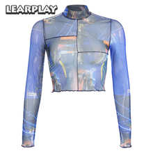2019 Fashion Women Sexy See Through Sheer Mesh Prtinting High Neck Long Sleeve Trendy Crop Top Female Tees Shirts Streetwear trendy long sleeve high low see through pure color blouse for women