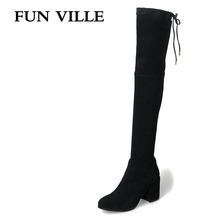 FUN VILLE 2017 New Arrival Sexy winter Women Over the Knee Boots Square Heel lady botas Shoes Round Toe Heel Hight 3.5 5 5.5 8cm