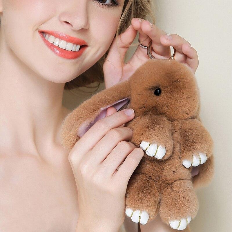 2017 Play Dead Rabbit Fur Rabbit Bunny Keychain Fashion fur pom pom keychain Rabbit Toy Doll Hanging Pendant Jewelry Accessories