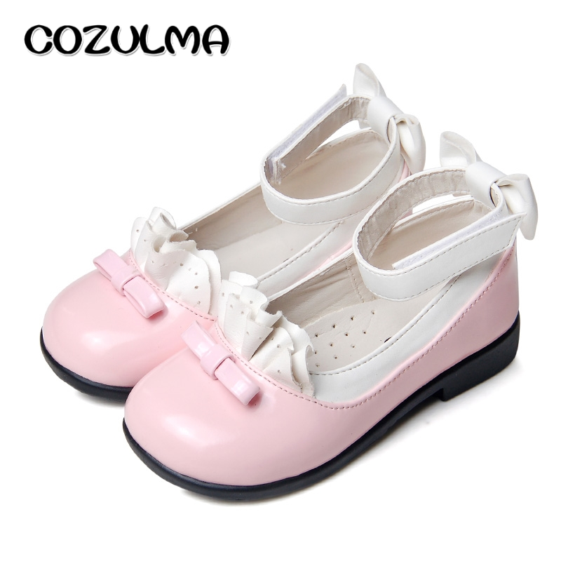COZULMA New Girls Shoes Kid Shoes Sneakers Princess PU Leather Dress Shoes Girls Bow Tie Casual Party Dance Shoes Child Sneakers