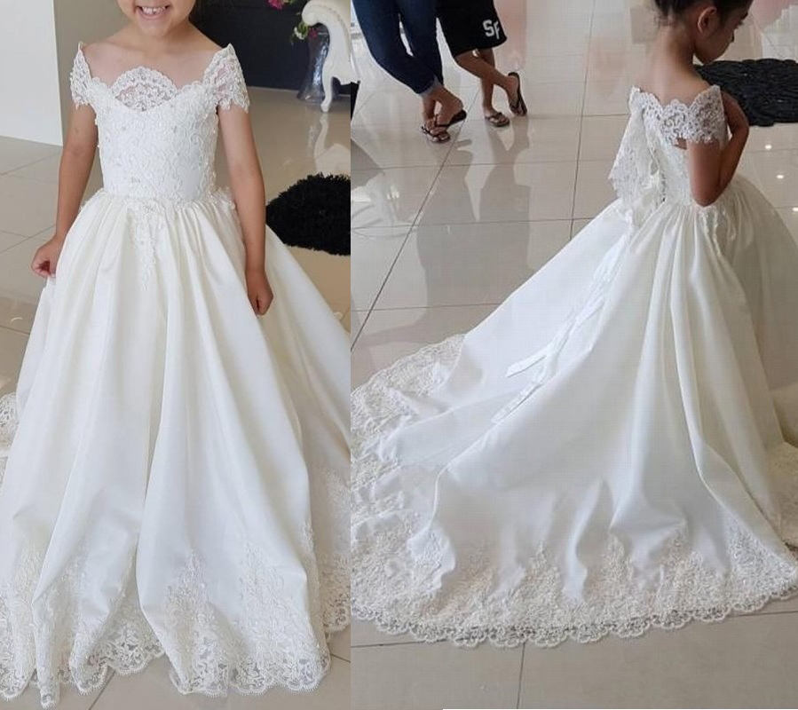 2019 Sleeve Kids TUTU   Flower     Girl     Dresses   First Communion Party Princess Gown Bridesmaid Wedding Formal Occasion   Dress