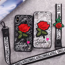 3D Rose Flower Case For iPhone 7 6 S 6S 8 Plus X Woman Lace Back Cover for iPhone X 10 7Plus 8Plus 6Plus 6SPlus With Lanyard