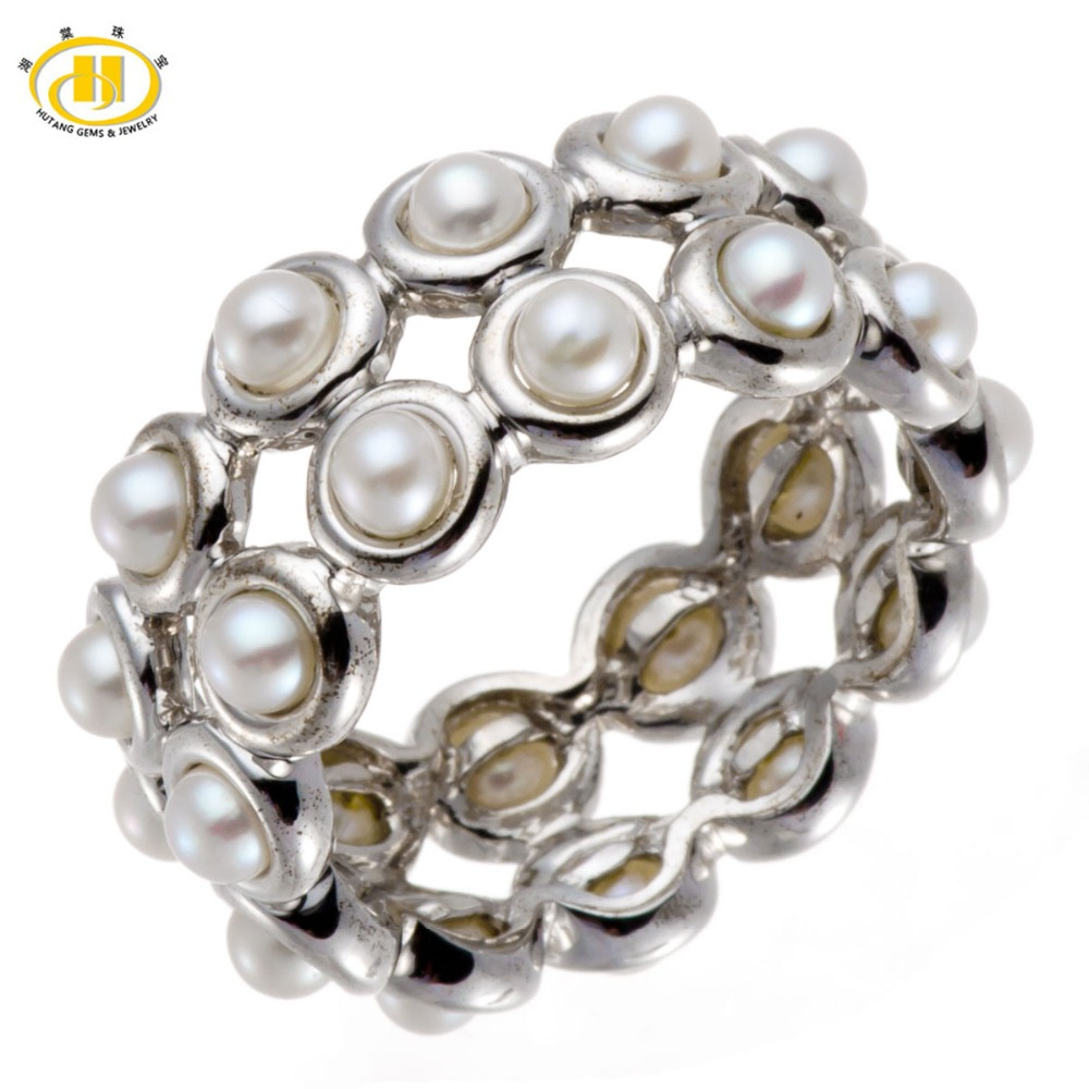 Hutang New 100 Freshwater Cultured Pearl Rings Solid 925 Sterling Silver Ring Full Set Fine Jewelry