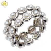 Hutang Neue 100% Süßwasser-zuchtperlen Ringe Solide 925 Sterling Silber Ring Volle Set Edlen Schmuck Hochzeit Engagement Frauen