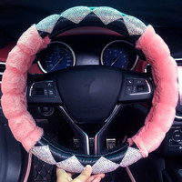 38cm Universal Winter Car Steering Wheel Cover Plush Pink Faux Fur Auto Steering Cover Case with Crystals for Women Girls