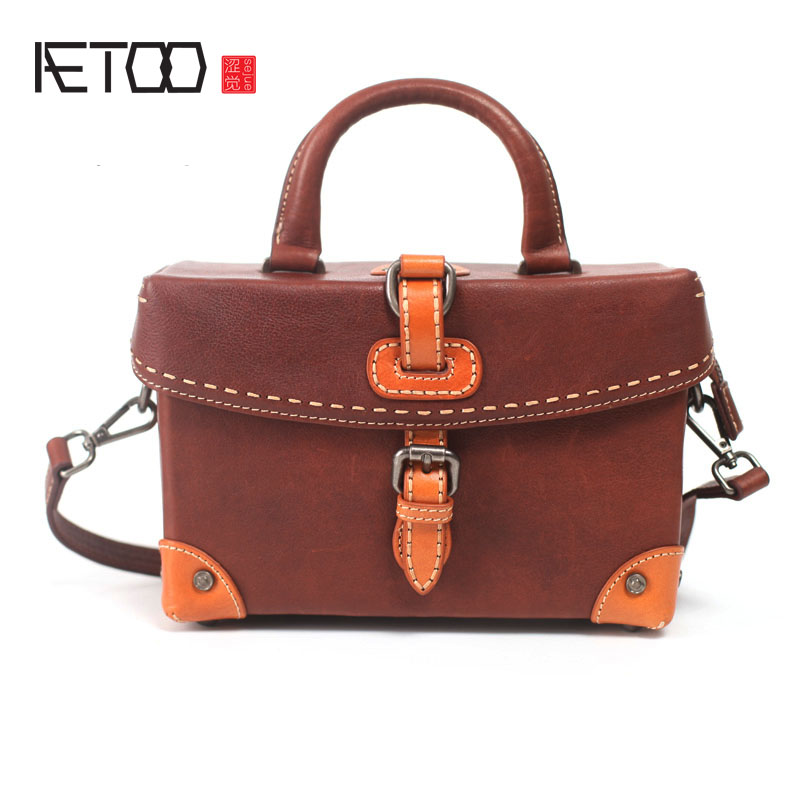 AETOO Handmade first layer cowhide art handbag retro small box handbag leather profile oblique cross package shoulder small squa aetoo first layer of leather foreign trade shoulder oblique cross package leather square notebook handbag business briefcase men