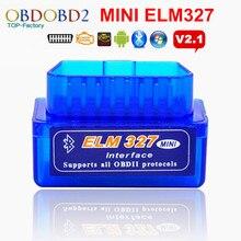 Мини ELM327 OBD2 OBDII ELM 327 Bluetooth V2.1 диагностический сканер инструмент для мультибрендовых автомобилей Android Symbian Windows