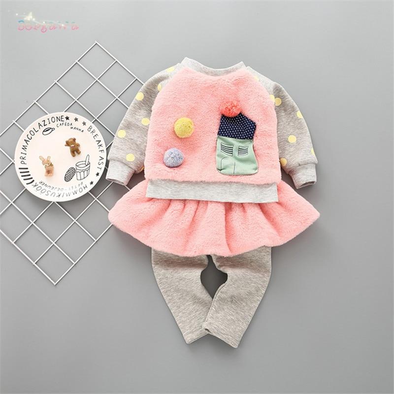 Winter Baby Girls Kids Cartoon Fleece Velvet Sweatshirt Tops Sweater+Skirt-Pant Leggings 2pcs Infants Princess Clothes Set S5913