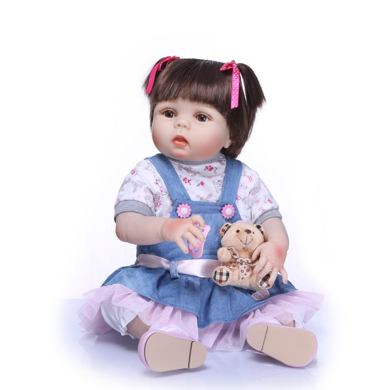 57 cm NPK bebe reborn mini silicone baby dolls for kids Playmate Birthday Gift For Girls 22Inch Baby Alive Soft Toys Bouquets pursue 22 55 cm bebe reborn silicone baby dolls toys for children girls house playmate baby alive soft toys best gift for girls