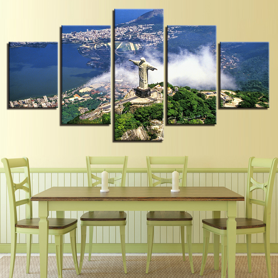 HJIAART Framed Canvas HD Prints Paintings Wall Art 5 Pieces Cristo ...