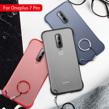Hard PC Transparent Frameless Case For OnePlus One Plus 7 Pro Cover Shell For OnePlus 7 7Pro 1+7 Pro With Finger Ring Phone Case
