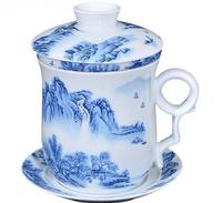 New Landscape 350CC Ceramic Tea Cup Bone China Mug With Filter Chinese Kung Fu Teacup Blue