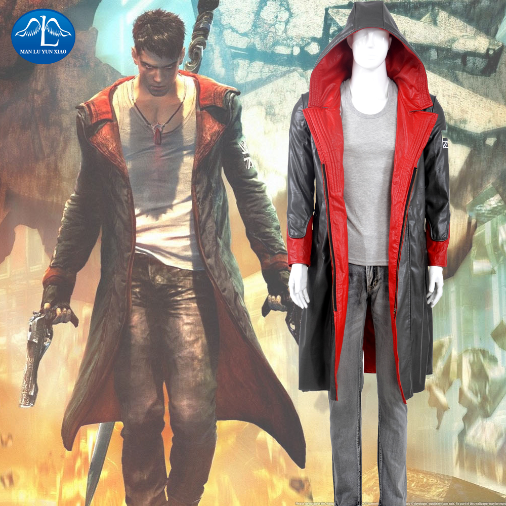 MANLUYUNXIAO New Hot Anime Cosplay Devil May Cry 5 Dante Cosplay Costume Men's Party Halloween Cosplay Suits Free Ship free ship hot new blonde mixed cosplay split type wig and with 2 pigtails