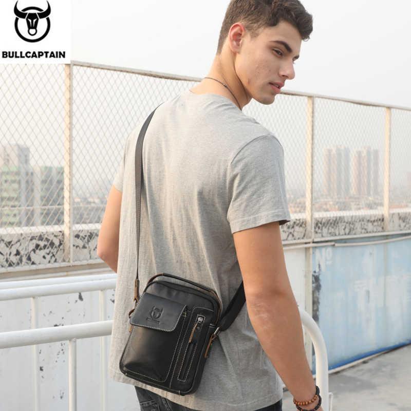 Hombres de cuero genuino de bullcaptain Messenger Bag casual crossbody bolso hombres de negocios de bolsos para el regalo marca