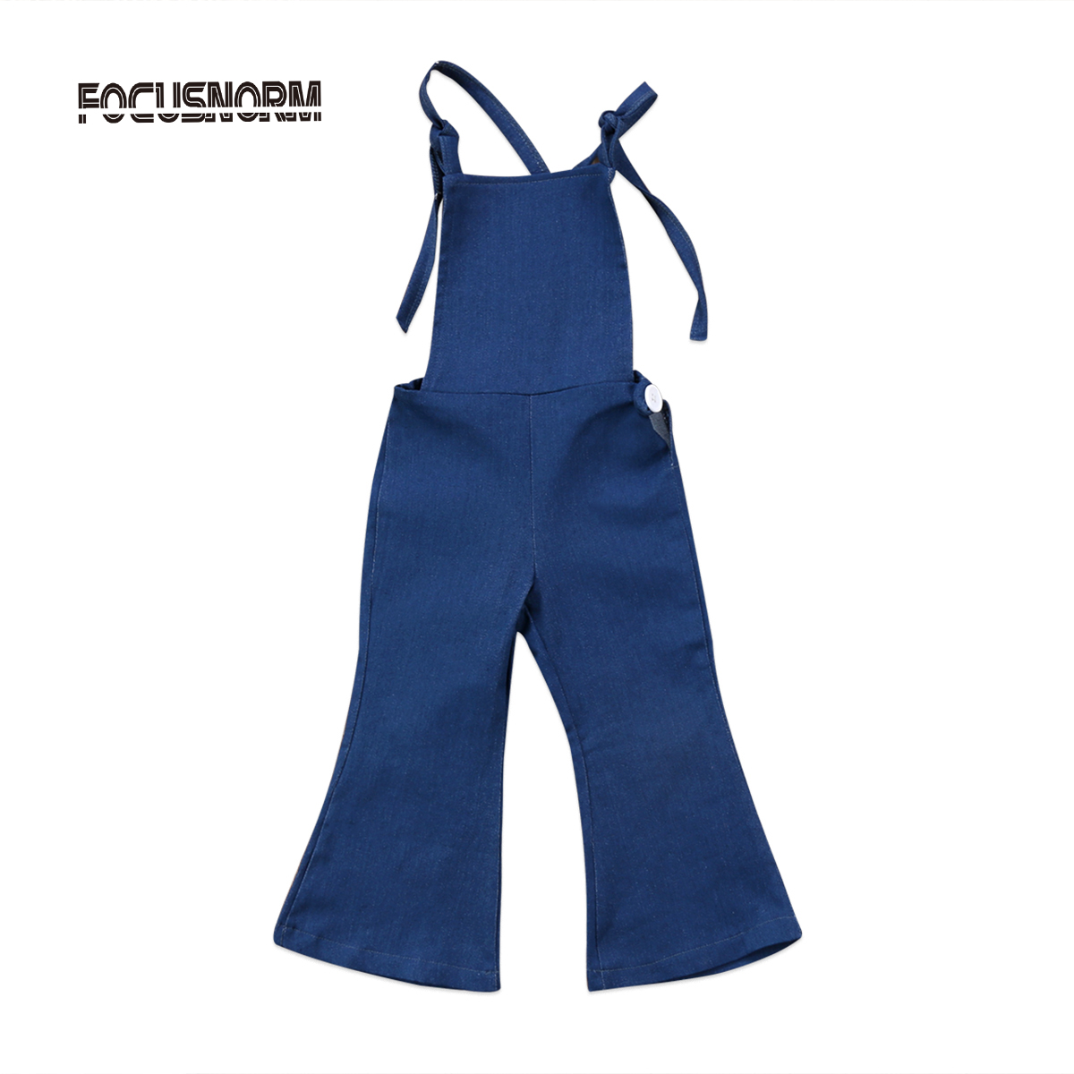 2017 Fashion Toddler Kids Girls Denim Strap Sleeveless Bib Pants Romper Backless Jumpsuit Playsuit Outfit Flare Trouser Clothes fashion 2pcs set newborn baby girls jumpsuit toddler girls flower pattern outfit clothes romper bodysuit pants
