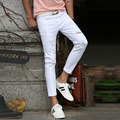 Hot 2016 White Ripped Jeans Men With Holes Cowboy Super Skinny Famous Designer Brand Slim Fit Destroyed Torn Jean Pants For Male