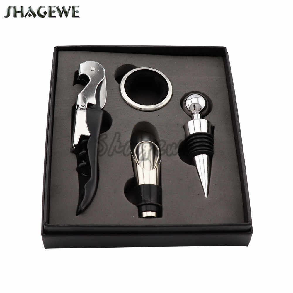 Stainless Steel Wine Tool Gift Set Bottle Opener Plug Hippocampus Knife Wine Bottle Stopper Pourer Drip Ring 4pcs/set