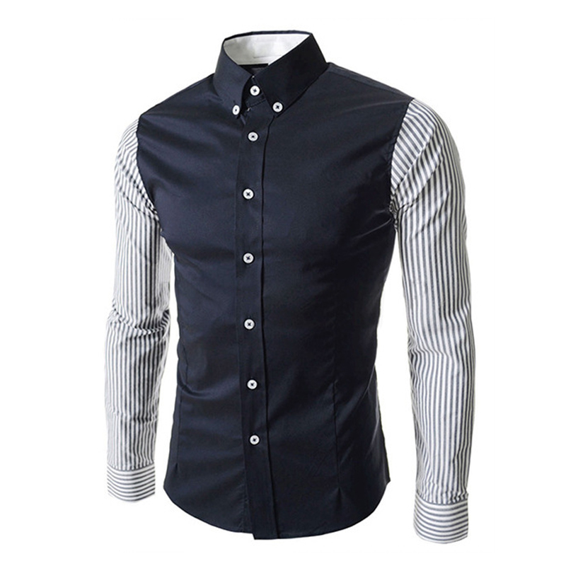 2016 new patchwork font b men b font font b shirt b font chemise homme slim