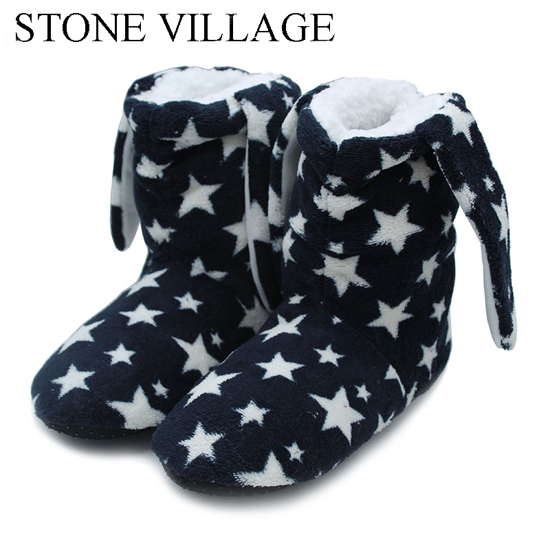 STONE VILLAGE New Arrival 2018 Household Slippers Warm Soft Woolen Indoor Shoes Cute Rabbit Ears Women Slippers House Shoes 53A woolen monster house shoes slippers color assorted pair