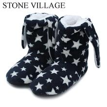 House Shoes Women Slippers Stone Village Rabbit Cute Woolen Indoor Ears Warm Soft 53A